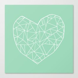 Abstract Heart Mint Canvas Print