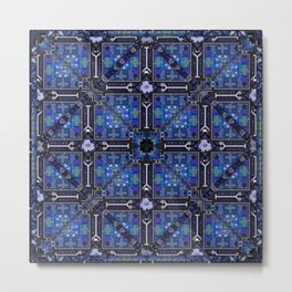 no. 144  blue flower pattern Metal Print
