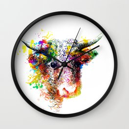 Hand drawn bull, cow, bison, buffalo head face portrait with horns. Colorful cattle painting sketch Wall Clock