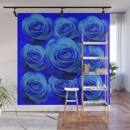 AWESOME BLUE ROSE GARDEN  PATTERN ART DESIGN Wall Mural