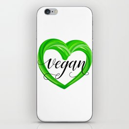 GREEN heart - Vegan iPhone Skin
