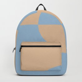 Pastel Blue Peach Minimal Circle Design 2 2021 Color of the Year Earth's Harmony Sunwashed Orange Backpack