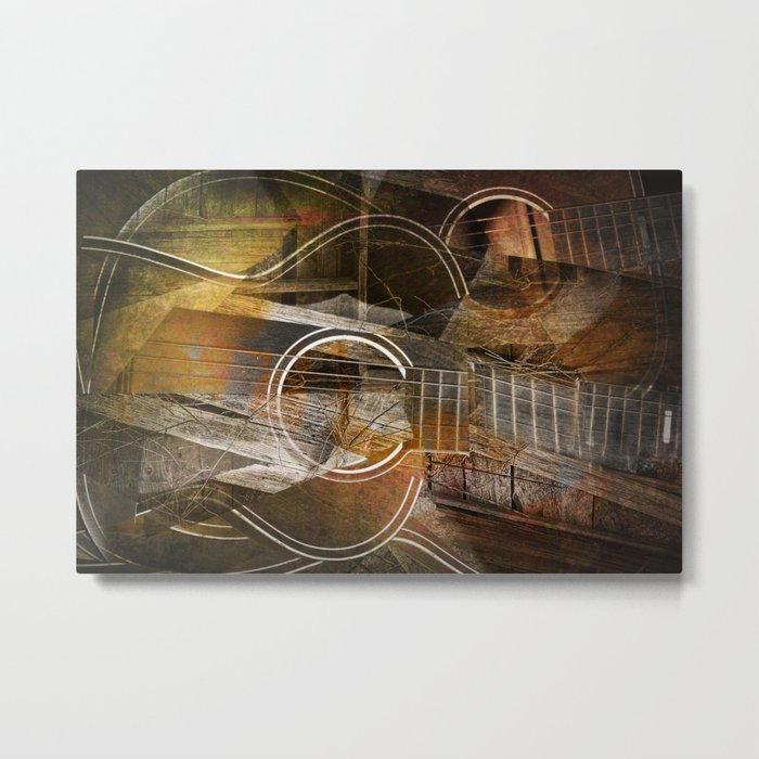 Abstract Cubist Style Guitar Metal Print