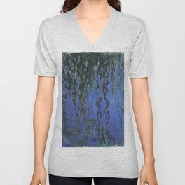 Water Lilies and Weeping Willow Branches by Claude Monet Unisex V-Neck