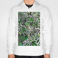 green pattern Hoodies featuring Green Pattern by Marcela Caraballo