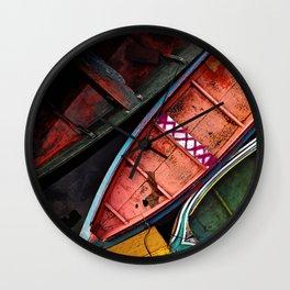 Colorful Amazon Fishing Boats Wall Clock