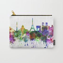 Paris skyline in watercolor on white background Carry-All Pouch