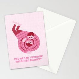 You Are My Favorite Weighted Blanket (Pink) Stationery Cards