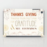 thanksgiving iPad Cases featuring ThanksGiving by joannaciolek
