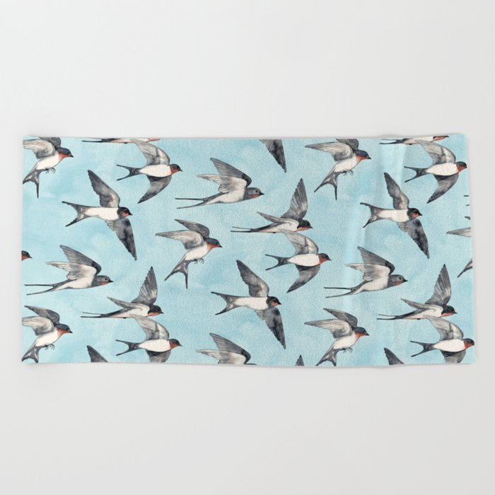 Blue Sky Swallow Flight Beach Towel