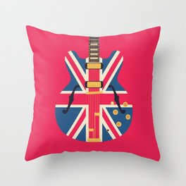 Union Jack Flag Britpop Guitar - Crimson Throw Pillow