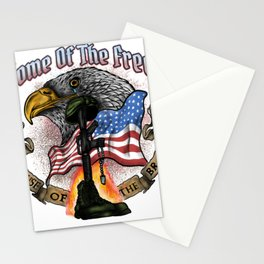 Land of the Free Because of the Brave Fourth July Stationery Cards