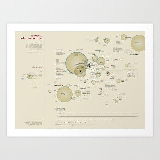 European subterranean veins (Visual Data 04) Art Print