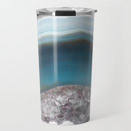 Deep Blue Agate with Amethyst Travel Mug