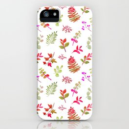 Neon pink green fall watercolor hand painted leaves iPhone Case