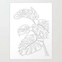 Line Art Monstera Leaves Art Print
