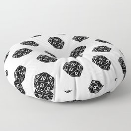 20 Sided Spindown Pattern - White & Black Floor Pillow
