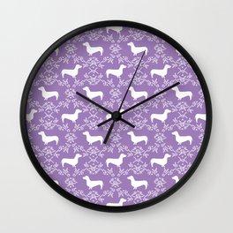 Dachshund purple florals pet portrait dog art dachsie doxie pet art dog breeds Wall Clock