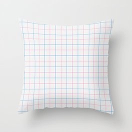 Grid Color Combination Blue Pink Throw Pillow