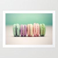macaron Art Prints featuring Macaron Row by Tiny Deer Studio