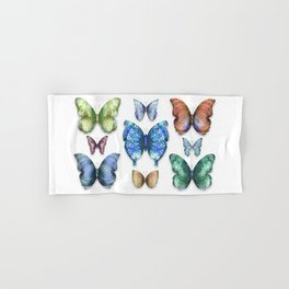 Butterfly Taxidermy // Beautiful Mandala Detailed Wings Design // Lime Green, Bright Blue, Gold Hand & Bath Towel