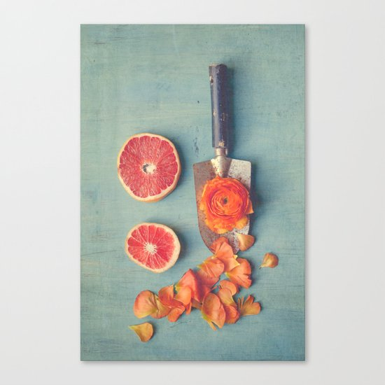 Grapefruit and Flowers Canvas Print