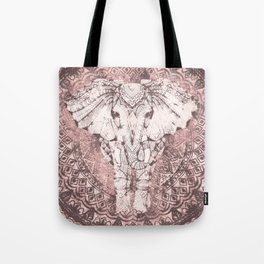 Bohemian, Elephant, Mandala, Blush, Moon Tote Bag