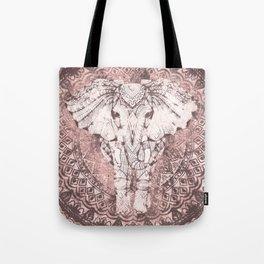 Bohemian, Elephant, Mandala, Blush, Moon Tote Bag