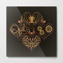 Steampunk Romance 4 Hearts Metal Print