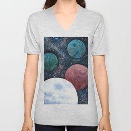 Journey through the cosmos. Alien planet watercolor Unisex V-Neck