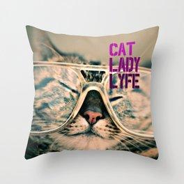 Cat Lady Lyfe Throw Pillow