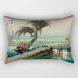 Yokkaichi - Vintage Japanesse Ukiyo e Art Rectangular Pillow