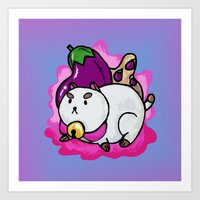 puppycat Art Prints featuring A Chubby Puppycat by Kristin Frenzel
