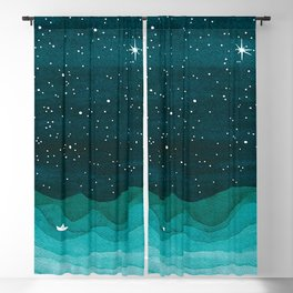 Starry Ocean, teal sailboat watercolor sea waves night Blackout Curtain