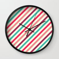 striped Wall Clocks featuring Striped. by Tayler Willcox