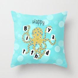 Octopus Birthday Throw Pillow