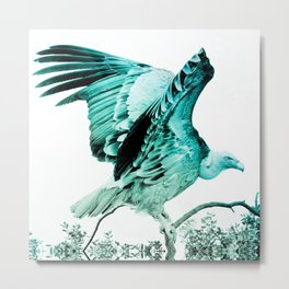 vulture turquoise aesthetic wildlife bird art altered photography Metal Print