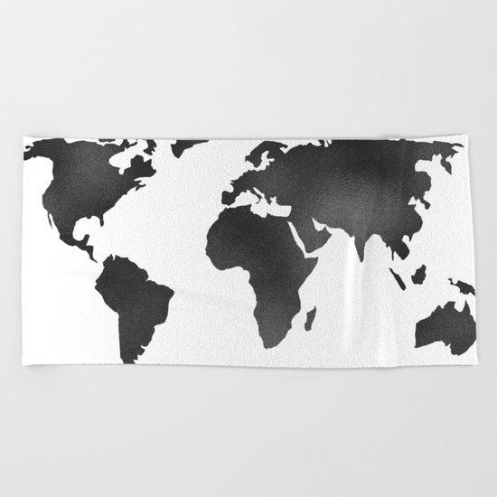 World Map in Textured Black Beach Towel