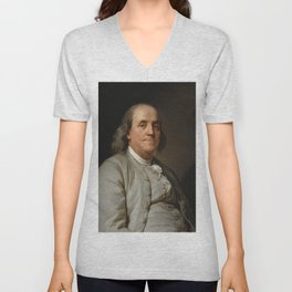 Benjamin Franklin Oil Painting Unisex V-Neck
