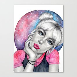 Galaxy girl with pink lips Canvas Print
