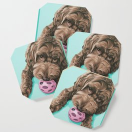 Labradoodle Dog with a Ball Art, Cute Puppy with Toy, Labradoodle Portrait Coaster