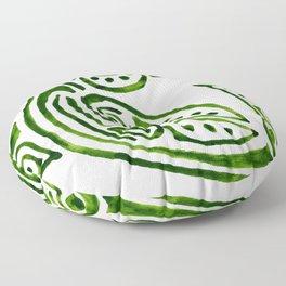 Dauphin tatouage tribal vert en rond -green tatoo dolphin Floor Pillow