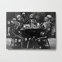 Six Skeletons Smoking Metal Print