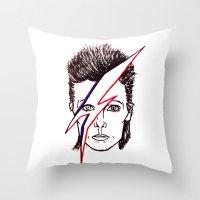 aladdin Throw Pillows featuring Bowie Aladdin by Diego La Diabla