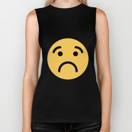 Smiley Face   Cute Quite Sad Smileys Biker Tank