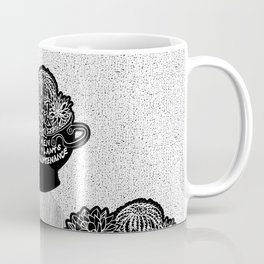 Lo-Maintenance Men & Cacti Black and White Trendy Illustration Coffee Mug