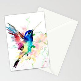 Hummingbird , Blue Turquoise Pink Stationery Cards