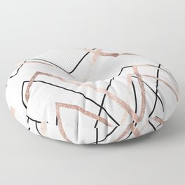 Rose Gold White Linear Triangle Abstract Pattern Floor Pillow