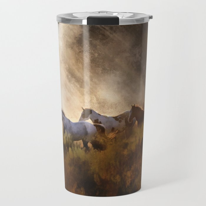 Horses in a Golden Meadow by Georgia M Baker Travel Mug