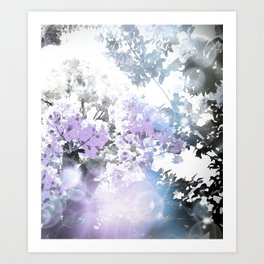 Watercolor Floral Lavender Teal Gray Art Print